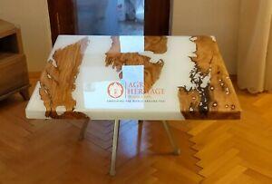 White Epoxy Resin Wood Custom Corridor Dining Table Tops Handmade Living Decor
