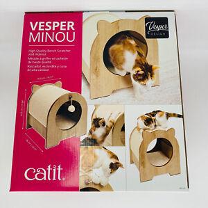 Catit Vesper Minou Bench Cat Scratcher Tunnel Hiding Place Wood New