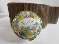 VTG STAFFORDSHIRE ENAMELS ENGLAND HAND PAINTED MOTHER TRINKET BOX E1