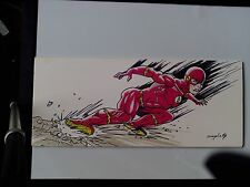 THE FLASH  signed by artist,Inks & colors on a board!!! 20in x 9in