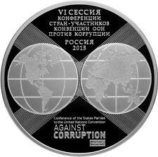 3 rubli Rubles Anniversary United Nations AG. Corruption Russia 2015 Russia