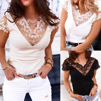 Women's Sexy Lace Floral V Neck Tops Ladies Casual Short Sleeve Blouse T-Shirt