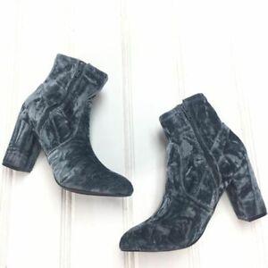 Steve Madden Womens 6.5 Emison-V Ankle Boot Booties Gray Blue Crushed Velvet Zip