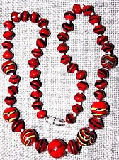 VINTAGE RED ART MURANO GLASS NECKLACE