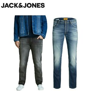 Jack Jones Men's Slim Straight Jeans 40-54 Big Plus size comfort Stretch Pants