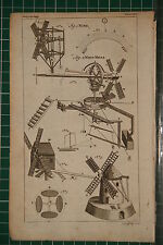 1764 ANTIQUE PRINT ~ WIND WIND-MILLS VARIOUS EXAMPLES DIAGRAMS