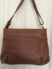 JOAN WEISZ Tan Leather Fashion Sling Zip Top Crossbody Bag