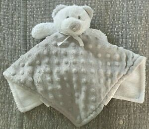 Lovey Gray White Bear Blankets & Beyond Raised Dots Repaired Nose Clean GUC
