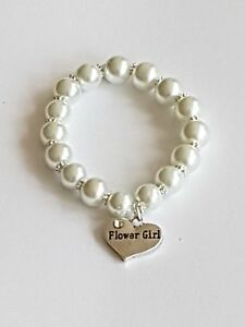 Flower Girl Pearl Bracelet  With Gift Bag. PLEASE STATE AGE REQUIRED