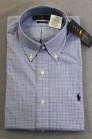 RALPH LAUREN POLO Men BLUE CHECKER NAVY PONY Custom Fit DRESS SHIRT NWT 16 40-41