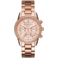 NEW MICHAEL KORS LADIES RITZ ROSE GOLD GLITZ WATCH - MK6357 - RRP £249