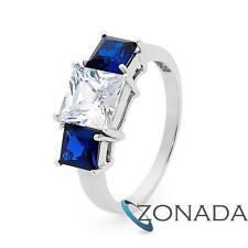 SimulatedDiamond Sapphire Princess 9k 9ct Solid White Gold 2 or 3 Stone Rings