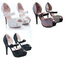 BLOSSOM SPARKLING HIGH HEEL STONE WEDDING PROM HEELS #VICE-60