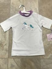 Unicorn Girls Rash Guard Swim Shirt Size Medium 7/8 New