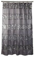 Shower Curtain Sinatra Bathroom Fabric Sequins Pattern Silver Modern Bath Decor