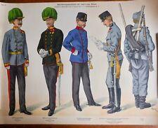 Armée Autriche-Hongrie K.u.K 13 planches uniformes 40,5 x 53 cm, lithographies