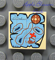 NEW Lego Pirate 2x2 Decorated TILE -Tan Blue w/Nauticle Map & Red X Pattern 4184