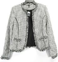 New White House Black Market Womens Tweed Glimmering Metallic Sweater Jacket  S
