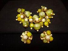 Massive Fruit Runway signed HOBE Vintage 1950's Bracelet, Earrings Set, Glass