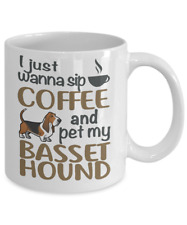 SIP COFFEE WITH BASSET HOUND COFFEE MUG, BASSET HOUND MUG, BASSET HOUND DOG