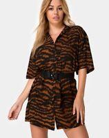 MOTEL ROCKS Fresia Mini Dress Animal Drip Brown *belt not inc* Medium M   (mr24)