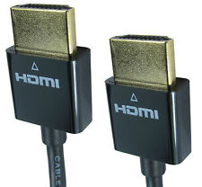 2m SUPER SLIM GOLD HDMI High Speed Cable Gold Plug 3D TV Blu Ray Sky 10.2 Gbps