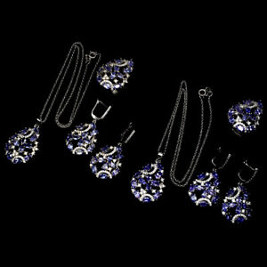 Oval Unheated Blue Tanzanite 5x3mm Cz 925 Sterling Silver Ring Earrings Necklace