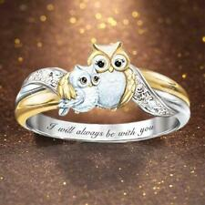 Lovely Owl Mother and Child Ring Womens Ring Jewelry Anniversary Gift Q4F9