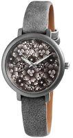 Damenuhr Grau Blumen Analog Metall Leder Modisch Armbanduhr D-195021500235500