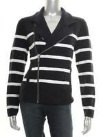 New Women's Ralph Lauren Navy White Striped Moto Zip Front Sweater Jacket Sz L