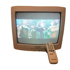 """Sharp Color CRT TV 13"""" Retro Gaming Front A/V Inputs w/ Remote 13J-M150 TESTED!"""