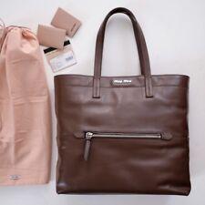 5b6891b33f49 MIU MIU Vitello Soft Leather Shopping Tote Bag in Bruciato