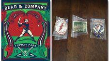 Dead & Company Poster Plus All 3 Pins Fenway Park Boston, Ma 7/15/16