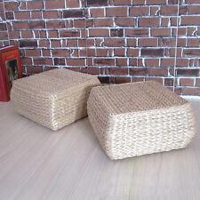 Tatami Breathable Square Footstool Cushion Padded Mat Straw Futon Small Seat