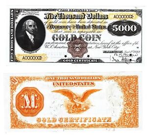 - Paper Reproduction - 5000 Dollars 1882 United States Gold Certificates  p264