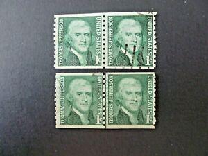 Lot of 2 1968 $.01 #1299 Jefferson Coil Line Pairs - See Description & Images