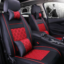 5-Seats Car Seat Cover PU Leather/Mesh Needlework Front&Rear Black/Red Universal