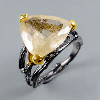Rutilated Quartz Ring Silver 925 Sterling Vintage9ct+ Size 8 /R128489