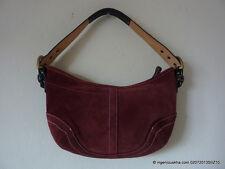COACH Suede Burgundy Hobo Bag Purse Handbag