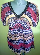 Ladies Short Sleeve Chiffon Empire Blouse Shirt Top Beads Crossroads Size 16