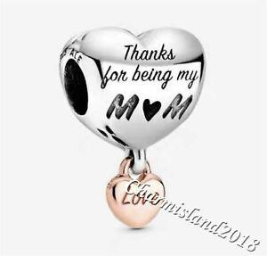 Authentic Pandora 788830C01 Silver 925 ALE Love You Mom Heart Charm