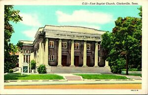 Clarksville TN First Baptist Church Postcard unused (18621)