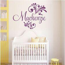 Wall Stickers custom baby name colour II swirls vinyl decal decor Nursery kids