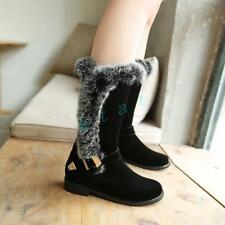 Plus Size Womens Round Toe Suede Mid-calf Pull On Warm Snow Casual Boots Shoes