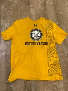 Under armour Heatgear Loose United States Navy Navy Yellow short sleeve Large
