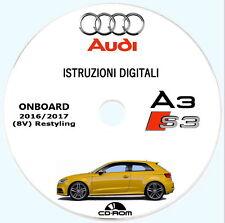 Audi A3,S3 (8V).Libretto istruzioni,uso manutenzione 2016/17 (restyling)
