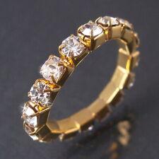 RING Gold plattiert Fingerring Zehenring STRASS dehnbar 1-reihig Schmuck R1135*