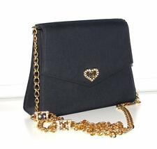 ESCADA~SATIN~GOLD CHAIN~STUDS SIGNATURE LOGOS~COCKTAIL EVENING CLUTCH BAG PURSE