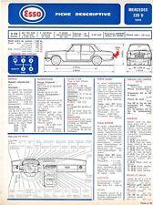 Fiche Descriptive Automobile pour Mercedes Benz 220 D - Ed E.T.A.I - Fiche n° 45