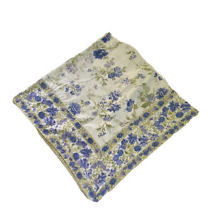 "April Cornell  50 "" Square 100% Cotton White Blue Purple Floral Tablecloth"